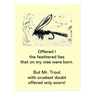 """Cruel Trout"" Postcard ""Gold Ribbed Hare's Ear"""