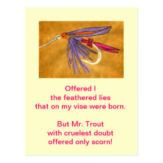 """Cruel Trout"" Postcard ""Pink and Purple"""