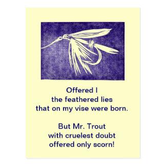 """""""Cruel Trout"""" Postcard """"Purple Wet Fly"""""""