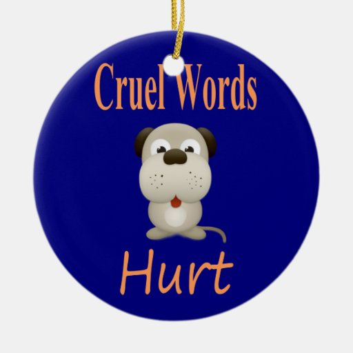 Cruel Words Hurt Double-Sided Ceramic Round Christmas Ornament