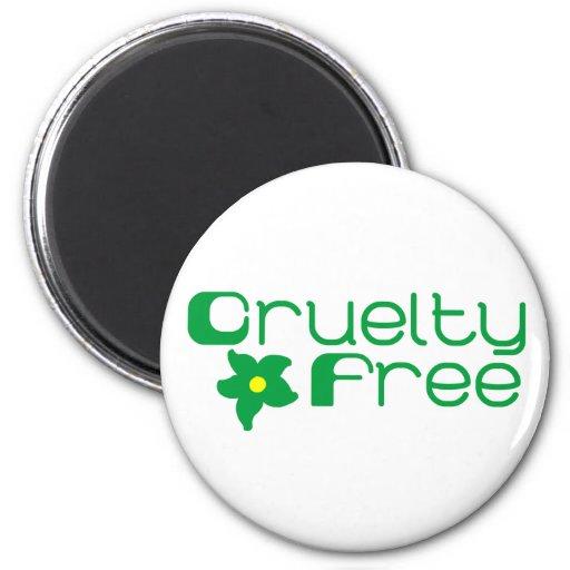 Cruelty Free Flower Design 2 Inch Round Magnet