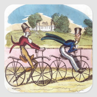 Cruikshank Vintage Old Fashion Bicycle Cyclists Square Sticker