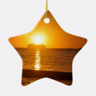Cruise at sunset ceramic ornament