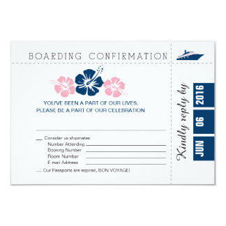 Cruise Boarding Pass RSVP Card with Hibiscus