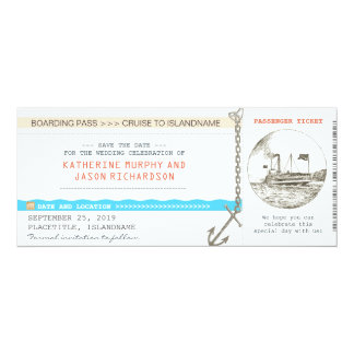 cruise boarding pass save the date design card