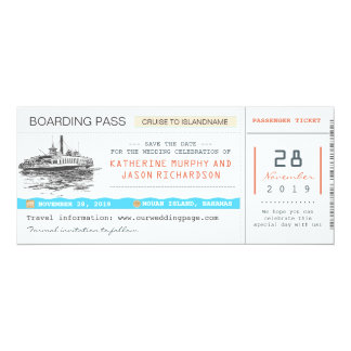 cruise boarding pass save the date tickets 4x9.25 paper invitation card