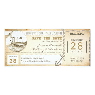 """cruise boarding pass tickets for save the date 4"""" x 9.25"""" invitation card"""
