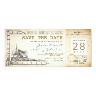 cruise boarding pass tickets for save the date 4x9.25 paper invitation card