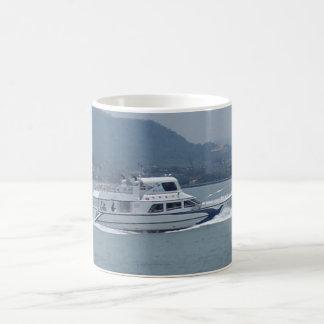 Cruise Boat on River White Coffee Mug