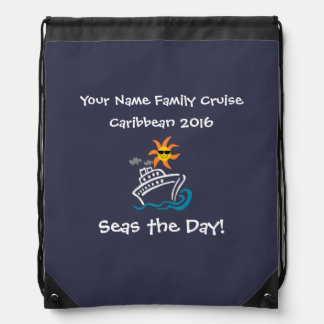 Cruise Drawstring Backpack Navy - Seas the Day!