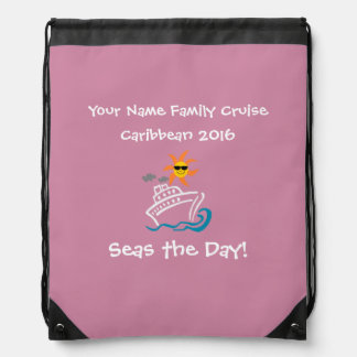 Cruise Drawstring Backpack Pink - Seas the Day!