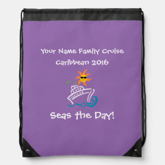 Cruise Drawstring Backpack Purple - Seas the Day!