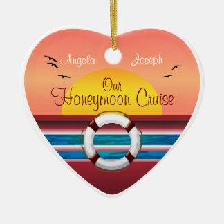 Cruise Honeymoon - Sunset Template Heart Christmas Tree Ornaments