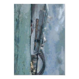 Cruise liner and Sydney Harbour bridge 5x7 Paper Invitation Card