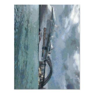 Cruise liner and Sydney Harbour bridge 4.25x5.5 Paper Invitation Card
