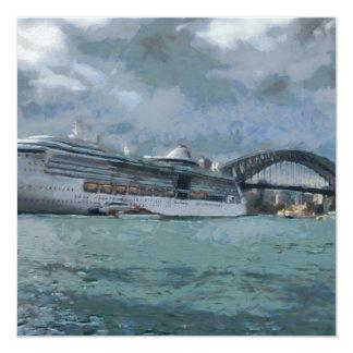 Cruise liner and Sydney Harbour bridge 5.25x5.25 Square Paper Invitation Card