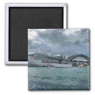 Cruise liner and sydney harbour bridge 2 inch square magnet