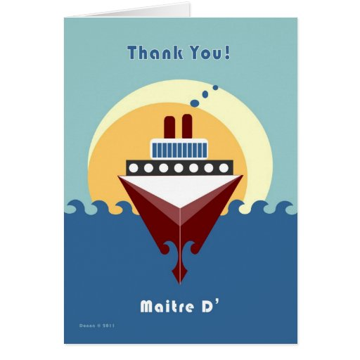 Cruise - Maitre D' - Thank you Cards