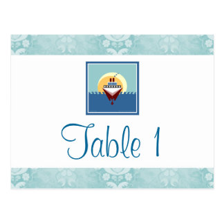 Cruise Party Theme Blue Table Number Cards Postcard