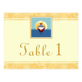 Cruise Party Theme Golden Cream Table Number Cards Postcard