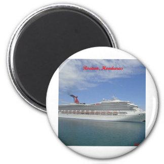 Cruise ship anchored in Roatan, Honduras 2 Inch Round Magnet
