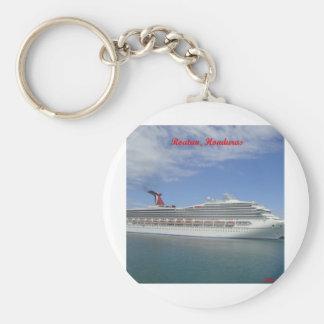 Cruise ship anchored in Roatan, Honduras Basic Round Button Keychain