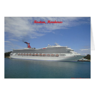 Cruise ship anchored in Roatan, Honduras Greeting Card