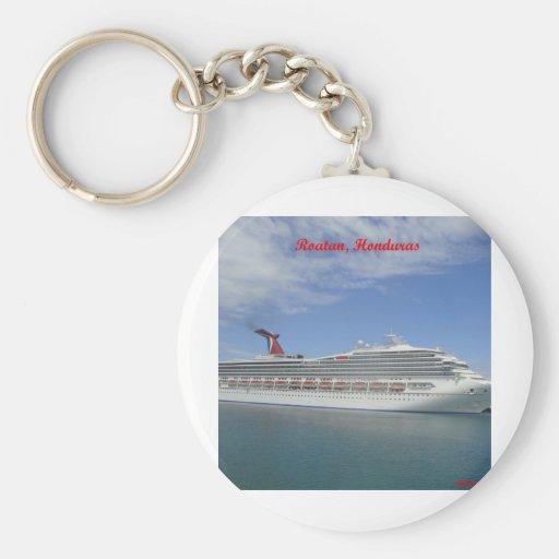 Cruise ship anchored in Roatan, Honduras Key Chains