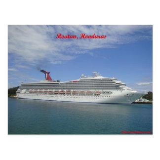 Cruise ship anchored in Roatan, Honduras Postcard