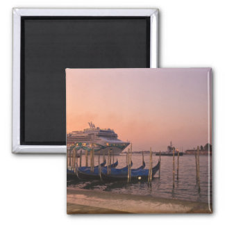 Cruise Ship and Gondolas near Grand Canal, Italy 2 Inch Square Magnet