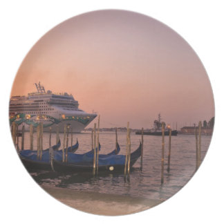 Cruise Ship and Gondolas near Grand Canal, Italy Plate