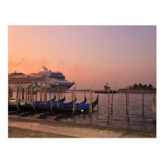 Cruise Ship and Gondolas near Grand Canal, Italy Postcard