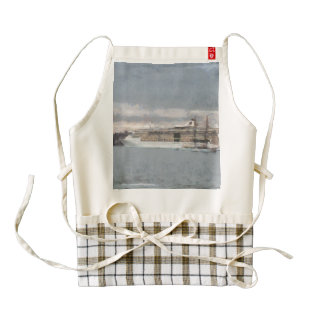 Cruise ship and sail boat zazzle HEART apron