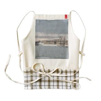 Cruise ship and sail boat zazzle HEART apron
