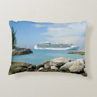 Cruise Ship at CocoCay Accent Pillow