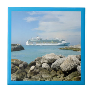 Cruise Ship at CocoCay Bordered Ceramic Tile