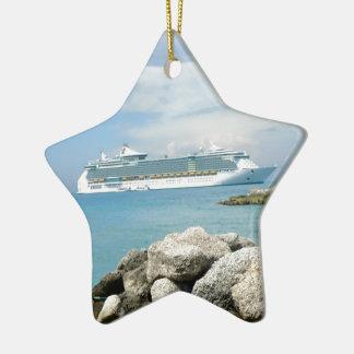 Cruise Ship at CocoCay Ceramic Ornament
