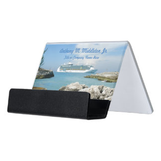 Cruise Ship at CocoCay CH1P Personalized Desk Business Card Holder