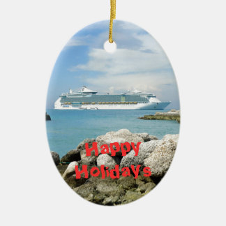 Cruise Ship at CocoCay Custom Double-Sided Oval Ceramic Christmas Ornament