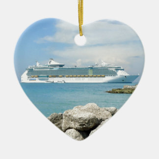 Cruise Ship at CocoCay Double-Sided Heart Ceramic Christmas Ornament