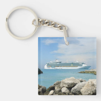 Cruise Ship at CocoCay Keychain
