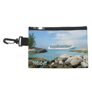 Cruise Ship at CocoCay Monogrammed Travel Accessories Bag