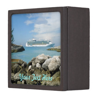 Cruise Ship at CocoCay Personalized Trinket Box