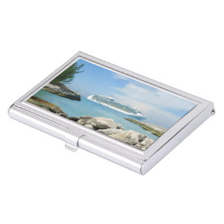 Cruise Ship at CocoCay Business Card Cases