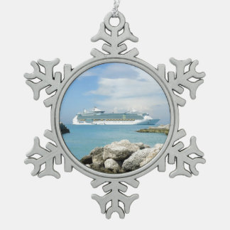 Cruise Ship at CocoCay Snowflake Pewter Christmas Ornament