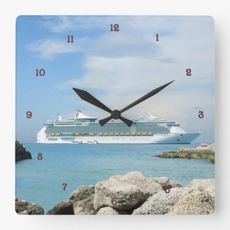 Cruise Ship at CocoCay Square Wall Clocks