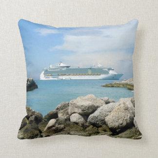 Cruise Ship at CocoCay Throw Pillow
