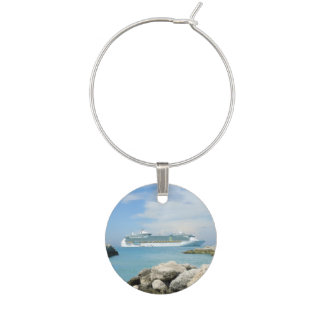 Cruise Ship at CocoCay Wine Glass Charms