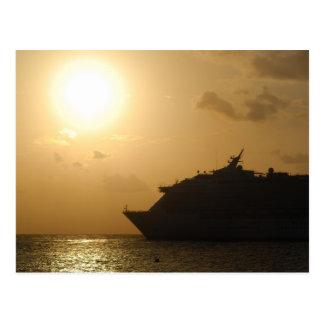 Cruise ship at sunset postcards