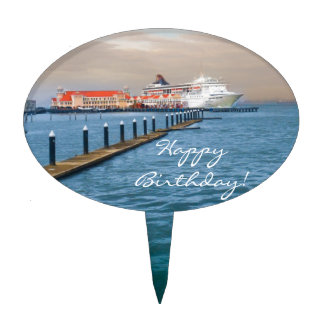 Cruise Ship At The Pier Cake Toppers